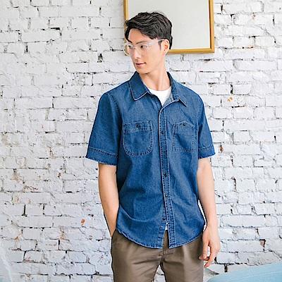 高含棉雙口袋短袖仿牛仔襯衫-OB大尺碼