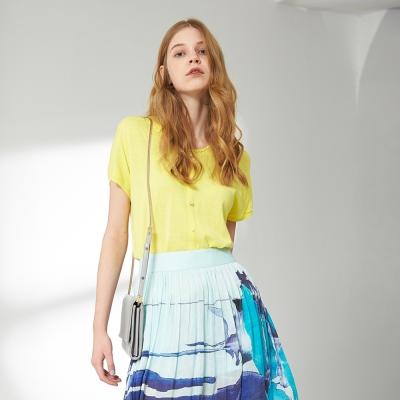 Chaber巧帛 簡約好感排釦時尚百搭針織造型上衣 兩色