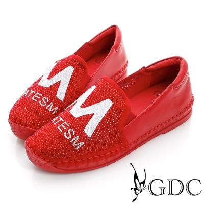 GDC舒適-M字水鑽拼貼厚底真皮懶人休閒鞋-紅色