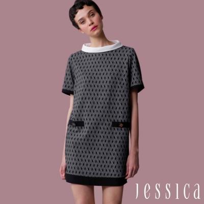 JESSICA-復古幾何紋短袖洋裝(黑)