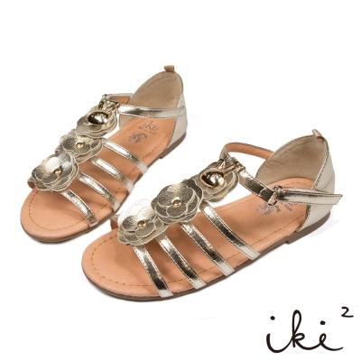 iki2童鞋-咕妮兔系列-羅馬花朵涼鞋-華麗金