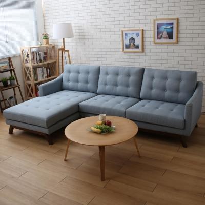典雅大師 Thalia塞妮亞藍色布質L型沙發