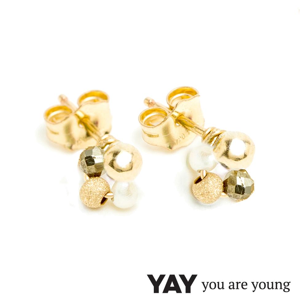 YAY You Are Young Frida 寶石花束耳環 迷你款 白珍珠X星辰豆豆