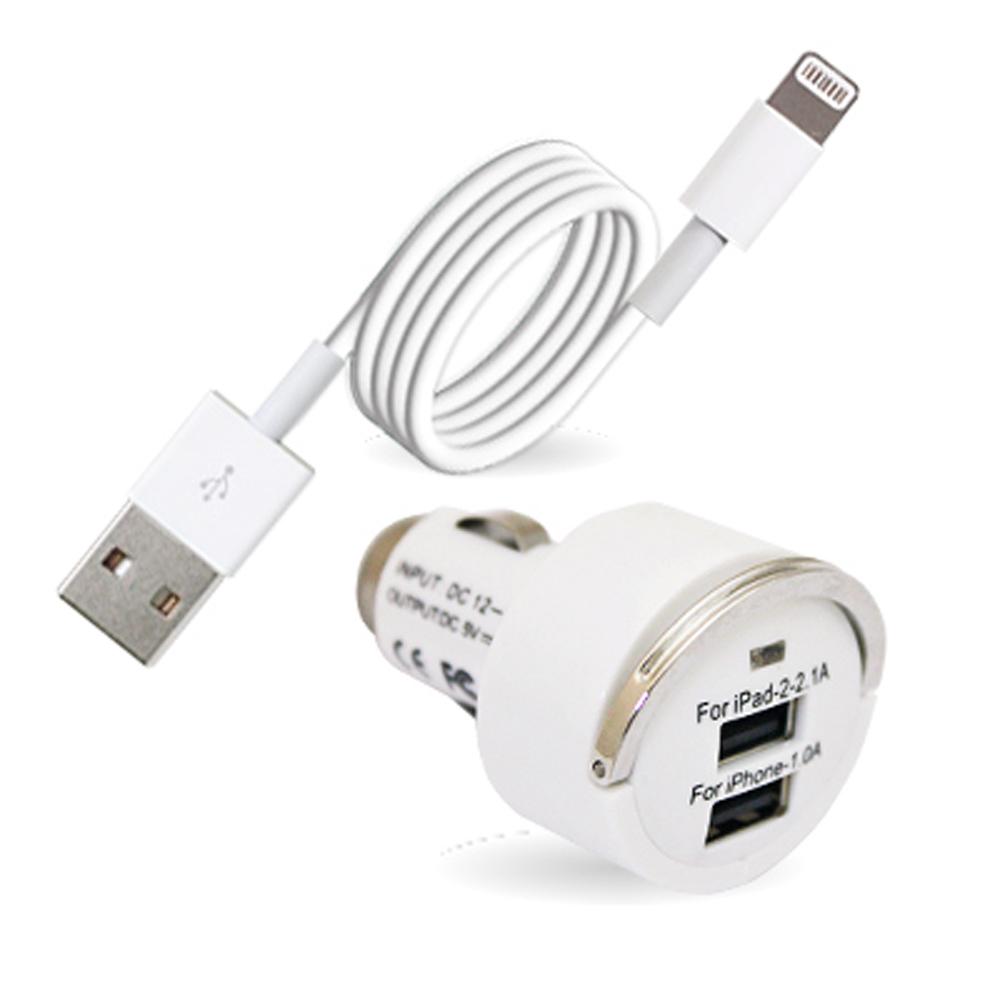 APPLE iPhone5/5S /iPad mini專用車充組(充電傳輸線+雙孔車充頭)