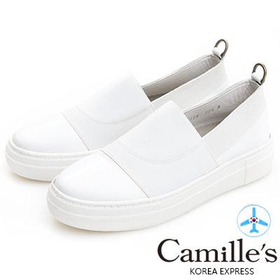 Camille's 韓國空運-正韓製-牛皮拼接鬆緊織布懶人休閒鞋-白色