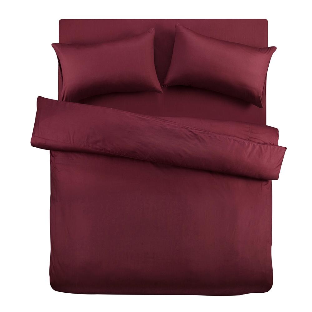 義大利Famttini-典藏原色 雙人四件式精梳棉被套床包組-棗紅