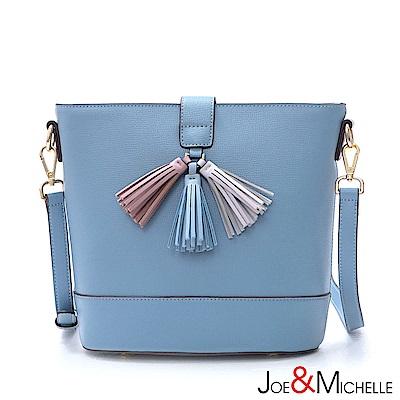 J&M 真皮蘿莉塔流蘇斜背水桶包 清新藍