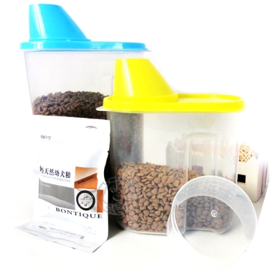 700 g瓶蓋飼料桶|零食保鮮桶附刻度量杯勺杯