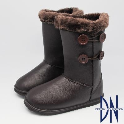 DN 暖冬必敗 暖暖毛茸滾邊鈕扣中筒靴 咖