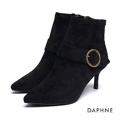 達芙妮DAPHNE 短靴-金屬扭結款圓釦絨布尖頭細跟踝靴-黑