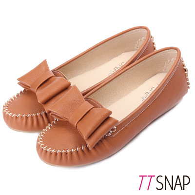TTSNAP莫卡辛-MIT可愛俏甜大蝴蝶結豆豆鞋-棕