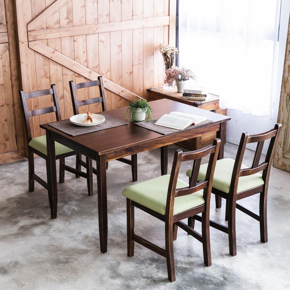 CiS自然行- 實木餐桌椅組一桌四椅 74x118公分/焦糖+抹茶綠椅墊