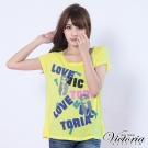 Victoria 皺皺領LOVE T恤-女-淺黃