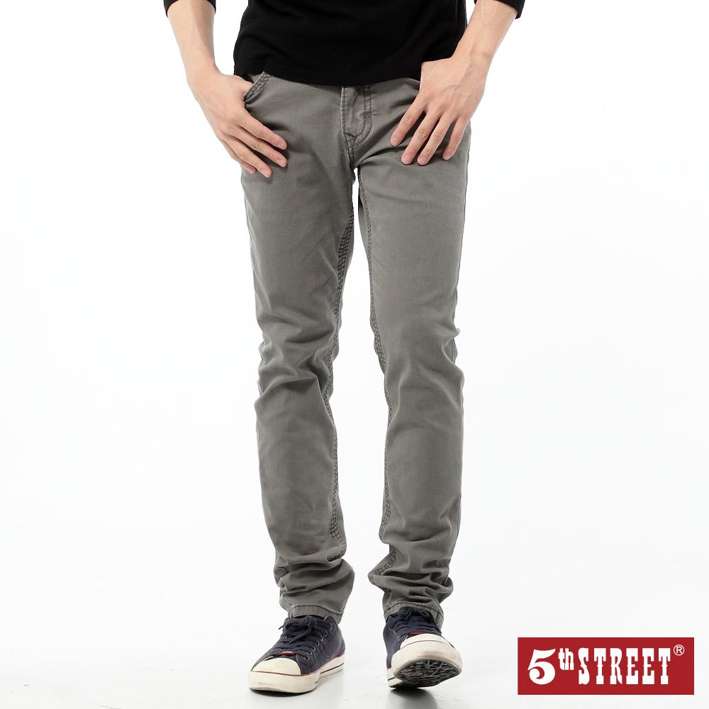 5th STREET 經典重水洗直筒牛仔褲-男-灰色