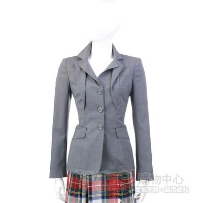 MOSCHINO 灰色荷葉造型西裝外套