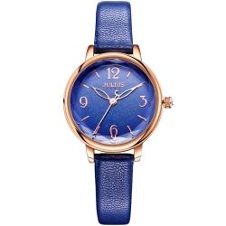 JULIUS聚利時 迷蝶花園立體鏡面皮帶腕錶-深藍/31mm