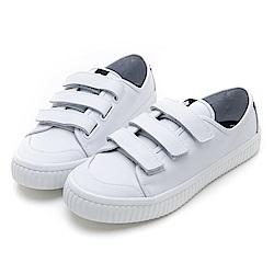 SPERRY 韓版皮革黏扣帶記憶鞋墊休閒鞋(女)-白