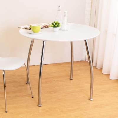 Bernice-可娜3尺圓型餐桌-白色-免組裝-90x90x75cm