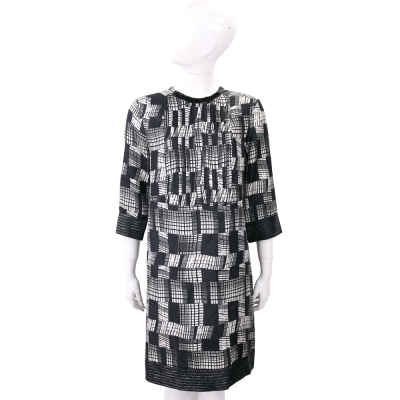 Max Mara 黑白幾何格紋絲質七分袖洋裝