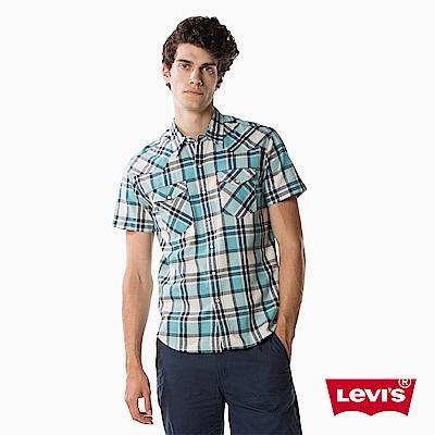 襯衫 短袖 男裝 藍白格紋 - Levis