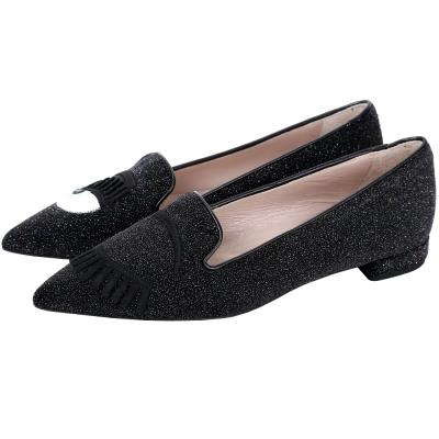 Chiara Ferragni Flirting 眨眼圖案星沙亮片尖頭鞋(星空黑)