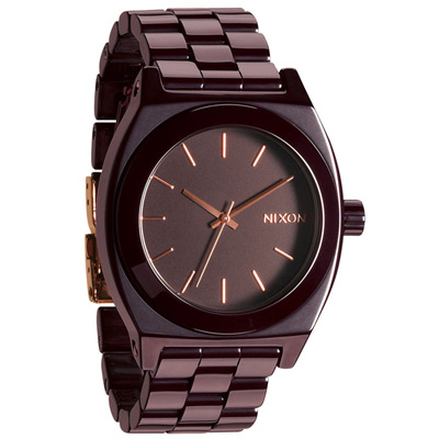 NIXON The TIME TELLER輕質時尚陶瓷都會腕錶-咖啡/37mm