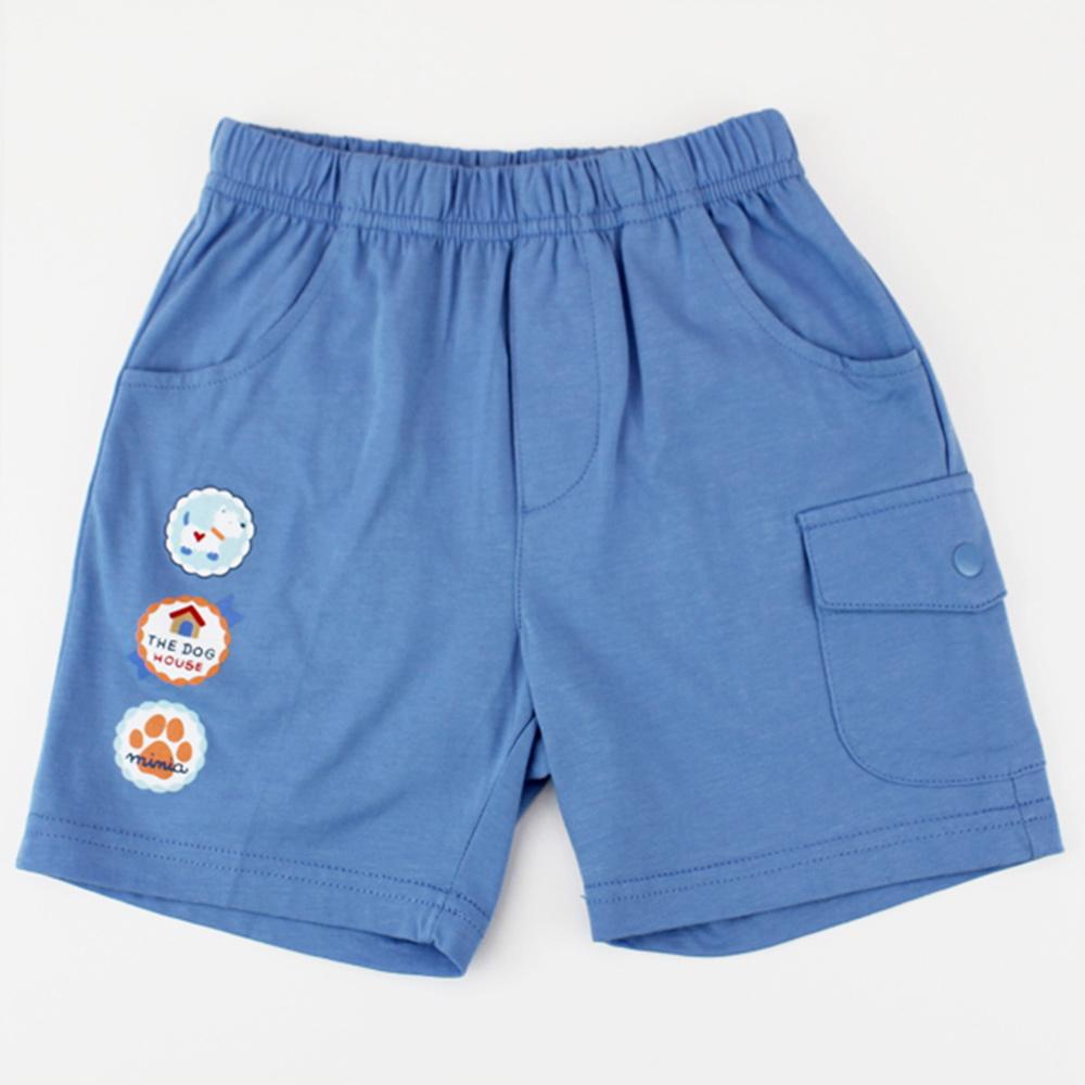 愛的世界 MYBABY 純棉鬆緊帶圓標五分褲-藍/2~4歲