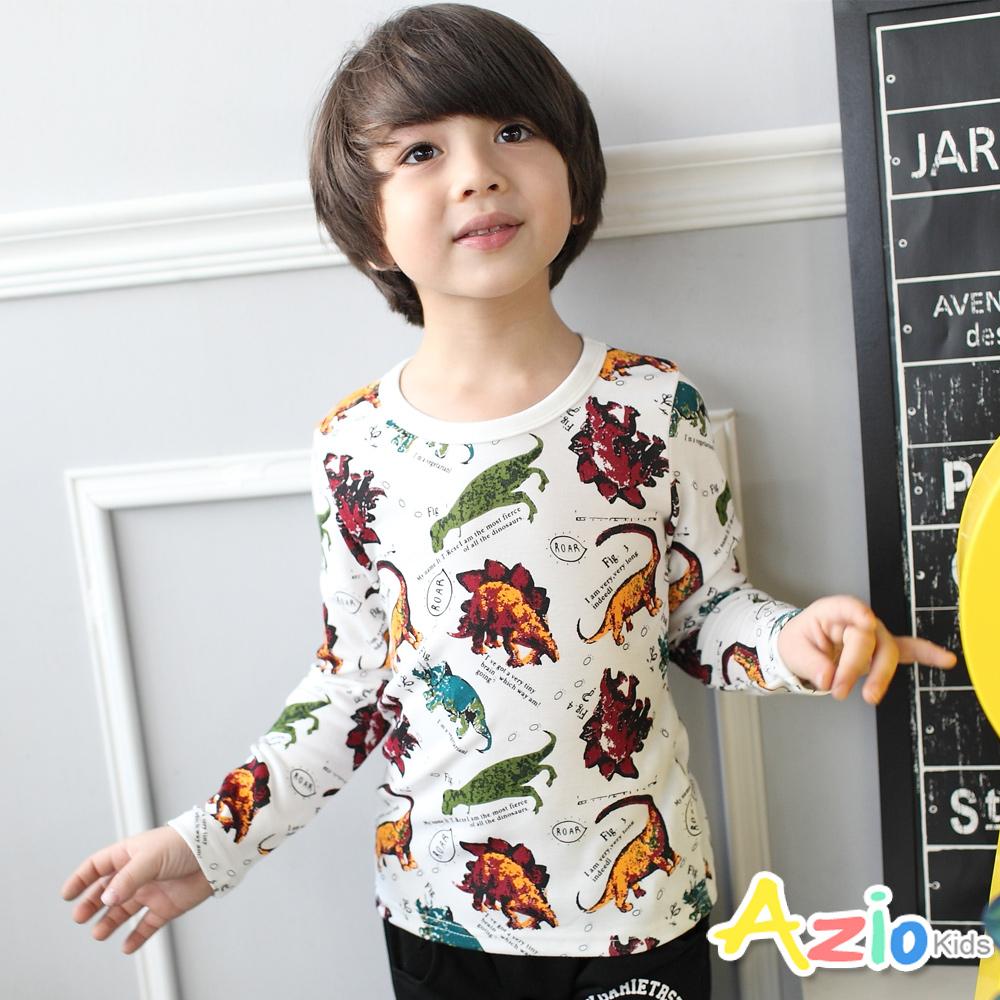 Azio Kids-上衣 滿版寫實膠印恐龍圖案上衣(白)
