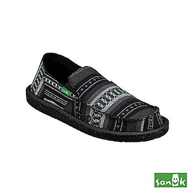 SANUK 編織圖紋懶人鞋-男款(黑色)