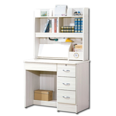 簡約Poll白雪杉3尺書桌全組 - 91x54x155cm