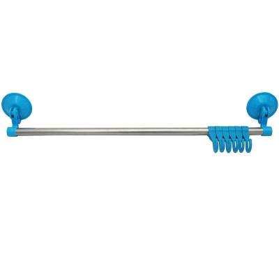 月陽純色系強力加壓吸盤式不鏽鋼管6連掛勾掛物架(5506)