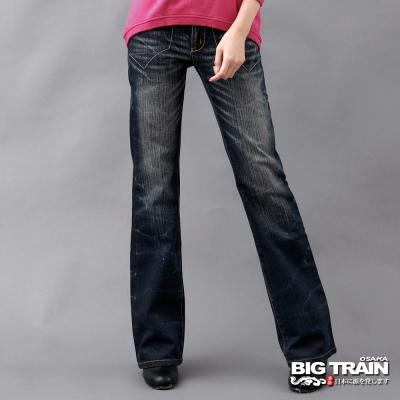 BIG TRAIN-女款 低腰街頭亮片寬褲-深藍