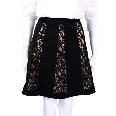 ALBERTA FERRETTI 黑色拼接剪裁蕾絲及膝裙