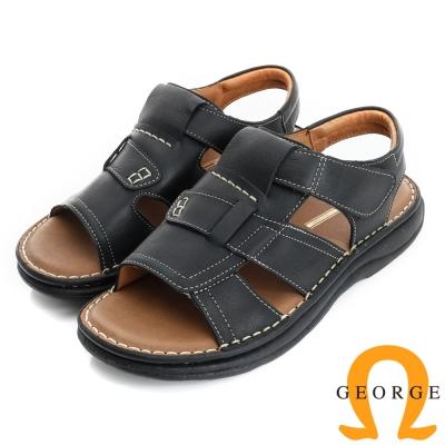 GEORGE 喬治-氣墊系列 牛皮抗震魔鬼氈休閒涼鞋拖鞋(男)-黑色