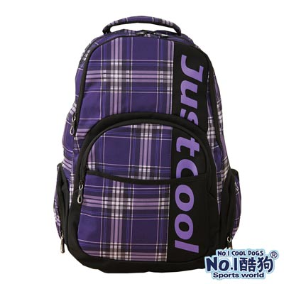 CoolDogs酷狗 經典學院風 戶外休閒運動搭色格紋後背包(時尚紫格紋)7800-182