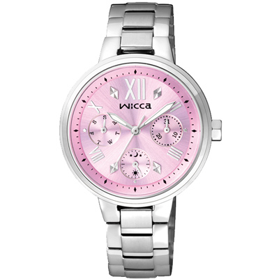 WICCA 彩色天空三眼設計腕錶(BH7-512-91)-粉紅/34mm