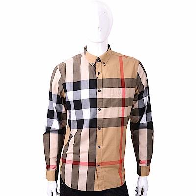 BURBERRY 經典大格紋棉質長袖襯衫(棕色)
