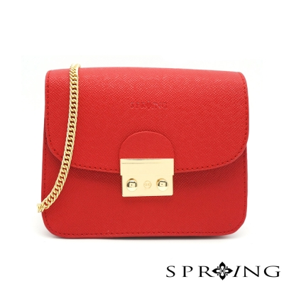 SPRING-濃情法蘭斯鏈帶小方包-紅