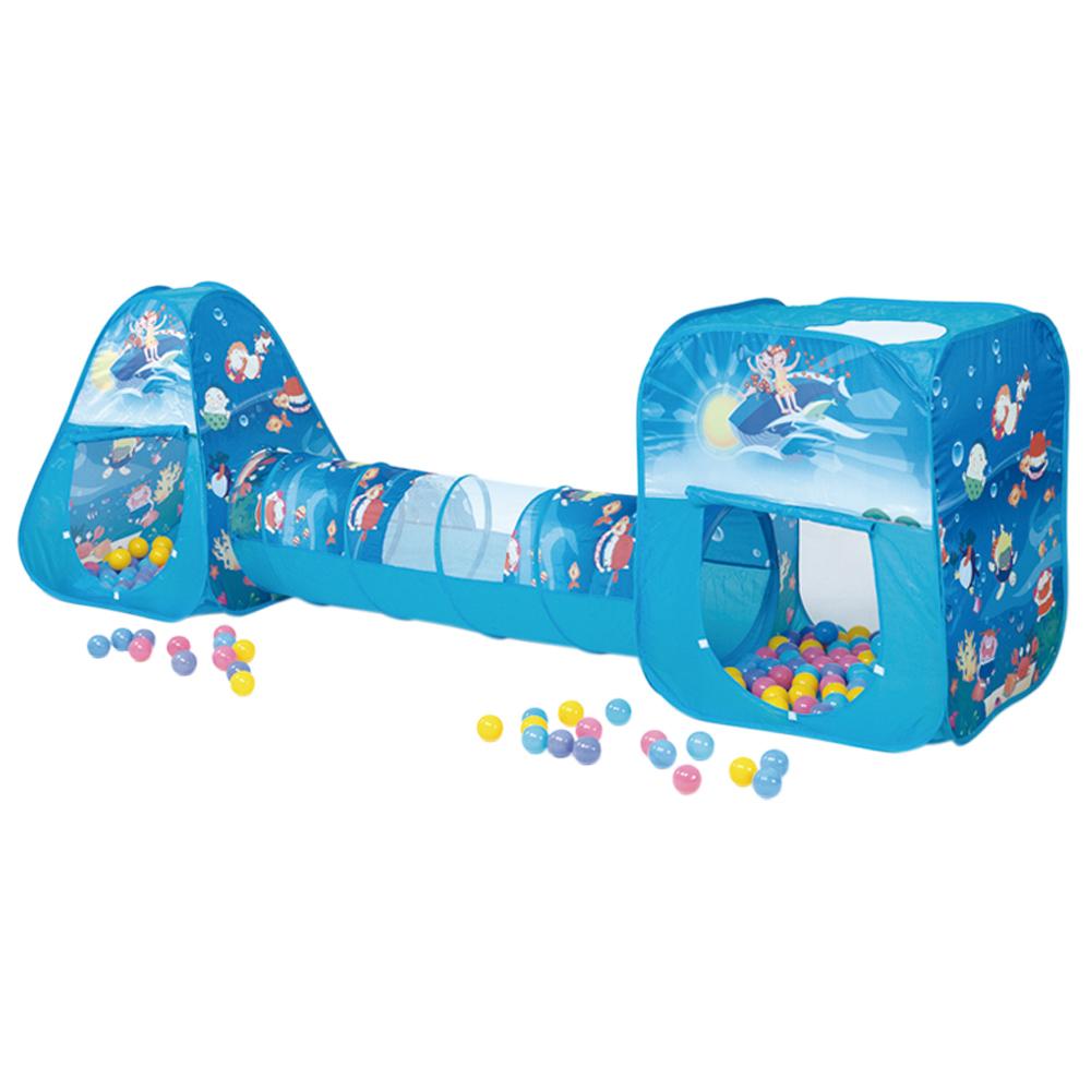 【寶貝樂】豪華隧道式三角+方形帳篷遊戲球屋組送100球