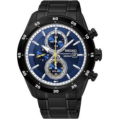 SEIKO精工 Criteria 零極限三眼計時腕錶(SSC543P1)-藍x黑/44mm