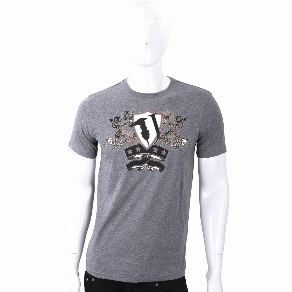 TRUSSARDI T字巴洛克盾牌圖印灰色棉質T恤