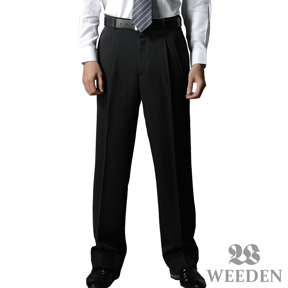 【WEEDEN】精緻纖維打摺西褲‧星空黑