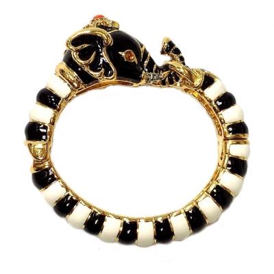 Kenneth Jay Lane 好萊塢巨星款 黑白砝瑯大象手環 鑲水晶華麗搪瓷 附原廠盒