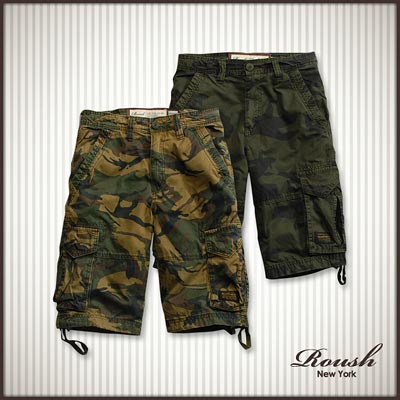 【 Roush 】迷彩立體尖角口袋設計水洗短褲 (3色)