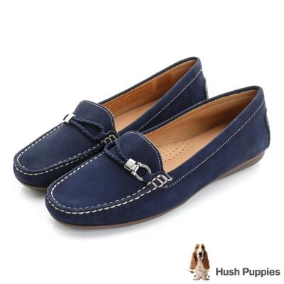 Hush Puppies RENITA 編織皮繩樂福鞋-深藍