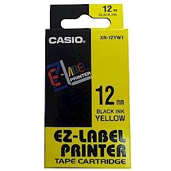 CASIO 標籤機專用特殊色帶-12mm黃底黑字-XR-12YW1