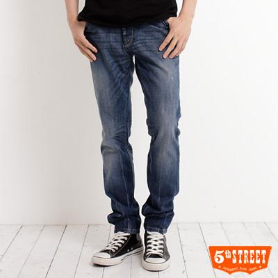 【5th STREET】大尺碼 街霸中直筒保溫褲-男款(拔洗藍)