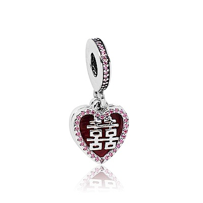 Pandora 潘朵拉 垂墜雙喜鋯石愛心 純銀墜飾 串珠