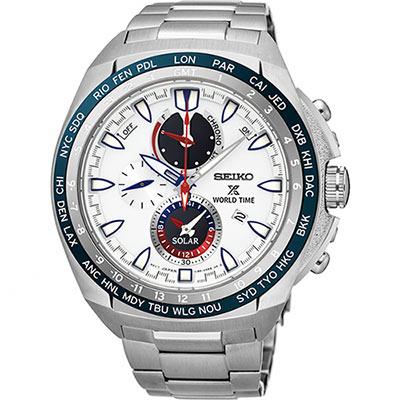 SEIKO 精工 Prospex 海世界時間時尚腕錶(SSC485P1)-白/44.6mm
