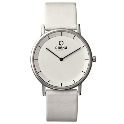 OBAKU 纖薄哲學二針時尚腕錶-銀框白-大/39mm